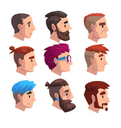 head of young man with fashion hairstyles set vector image
