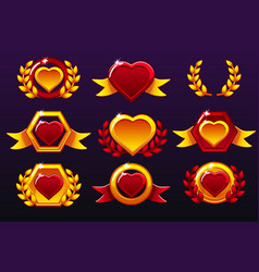 hearts red set gold templates for awards vector image
