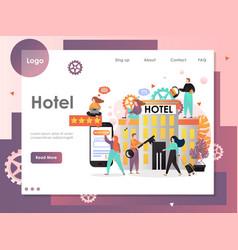 Hotel website landing page design template vector