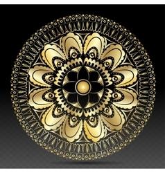 Islamic gold on dark mandala round ornament vector