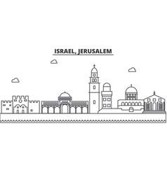 Israel jerusalem architecture line skyline vector