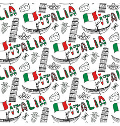 italy hand drawn seamless pattern with flag vector image