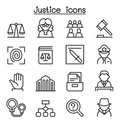 justice law court icon set in thin line style vector image