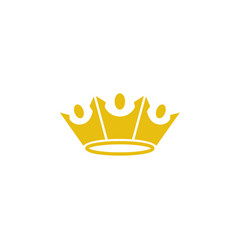 king crown three happy people logo design vector image