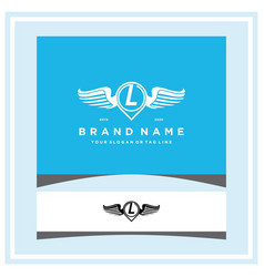 Letter l pin map wing logo design concept vector