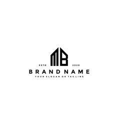 Letter mb home logo design vector