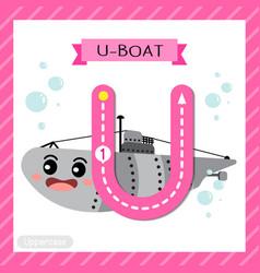 Letter u uppercase tracing u-boat vector