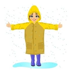 Little girl in yellow raincoat in the rain vector