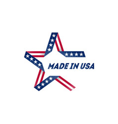 made in usa badge with usa flag colors and vector image