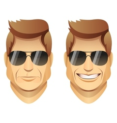 Male faces with sunglasses vector