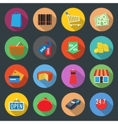 Market flat icons set vector image
