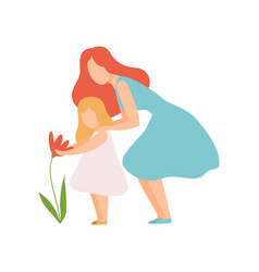 Mother and daughter looking at beautiful flower vector
