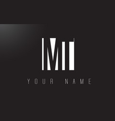 Mt letter logo with black and white negative vector