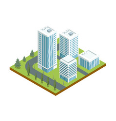 Multi-storey buildings with glass facades icon vector