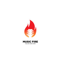 Music fire logo template icon element vector