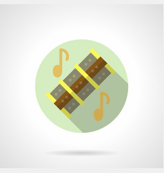 Music lessons reed pipes flat round icon vector
