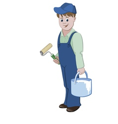 Painter standing with a roller and a bucket vector image