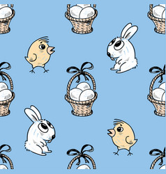 pattern of the easter baskets chicks and bunnies vector image