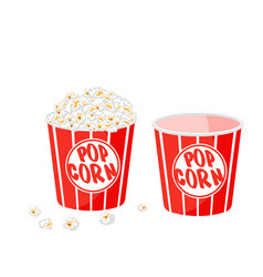 Popcorn in a striped tub on white background vector