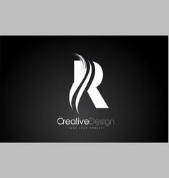 R letter design brush paint stroke on black vector