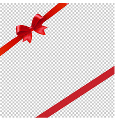 Red ribbon bow transparent background vector