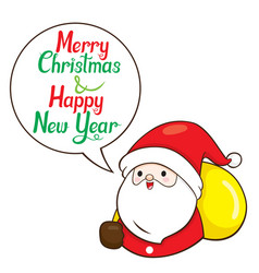 santa claus carry gifts bag on shoulder and talk vector image