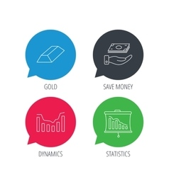 Save money dynamics chart and statistics icons vector image