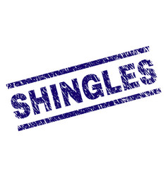 Scratched textured shingles stamp seal vector