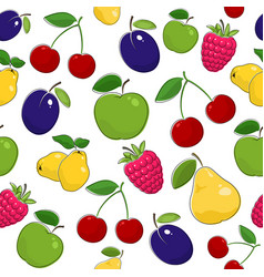 Seamless pattern of ripe fruits and berries vector