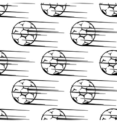 Seamless pattern of soccer balls or footballs with vector image
