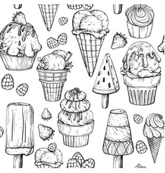 seamless pattern with ice cream black and white vector image