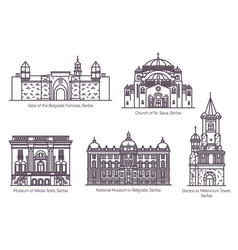 set isolated serbia famous buildings thin line vector image