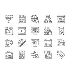 set seo and marketing line icons hosting vector image