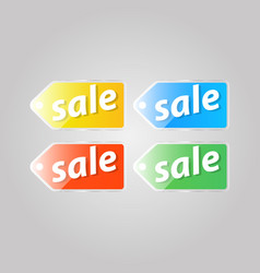 Shiny colored price tag on a gray background vector