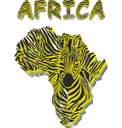 silhouette map of africa with the head of zebra vector image