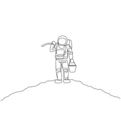 single continuous line drawing cosmonaut vector image