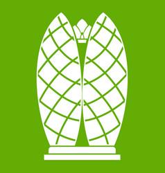 skyscraper icon green vector image
