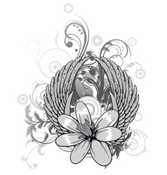 Spring floral with wings vector