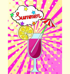 summer cocktail with lemon fruit and berry with vector image