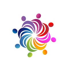 Teamwork colorful people logo vector image