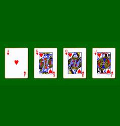 The royal hearts cards vector