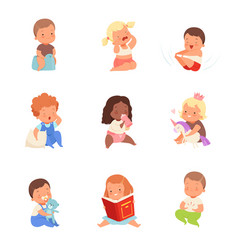 Toddlers in different situations vector