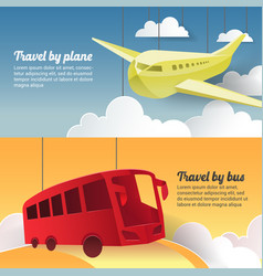 Travel plane and bus paper cut out banner vector