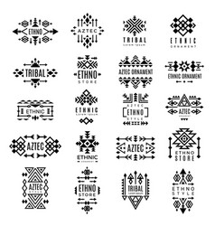 tribal logotypes aztec native decoration identity vector image
