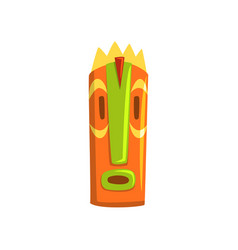 Tribal tiki mask hawaiian carved wooden statue vector