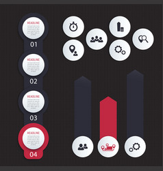 Vertical timeline 1 2 3 4 steps infographics vector