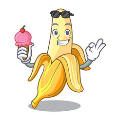 With ice cream character banana in the fruit vector