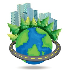 World and buildings vector image