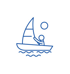 Yachting line icon concept yachting flat vector