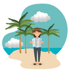 Young woman in beach summer vacations vector